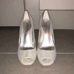 ALDO- peep toe heels in pearl white